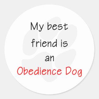 Mi mejor amigo es un perro de la obediencia pegatina redonda