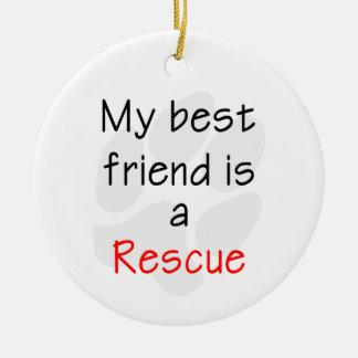 Mi mejor amigo es un perro del rescate ornamentos para reyes magos