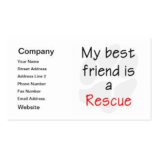 Mi mejor amigo es un perro del rescate tarjeta de visita