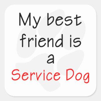 Mi mejor amigo es un perro del servicio pegatina cuadrada