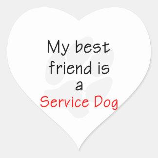 Mi mejor amigo es un perro del servicio pegatina en forma de corazón