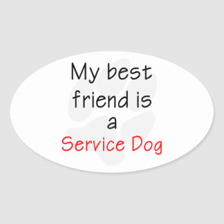Mi mejor amigo es un perro del servicio pegatina ovalada