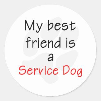 Mi mejor amigo es un perro del servicio pegatina redonda
