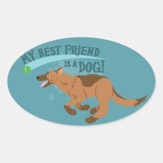 Mi mejor amigo es un perro pegatina ovalada