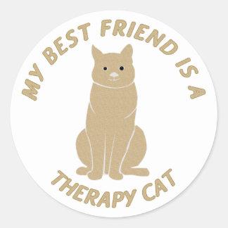 Mi mejor amigo (gato de la terapia) pegatina redonda