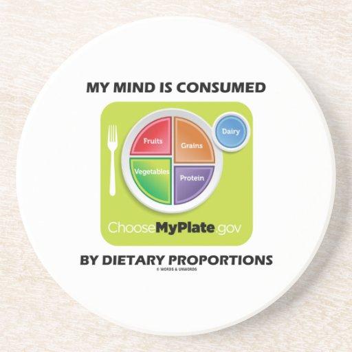 Mi mente es consumida por proporciones dietéticas posavasos personalizados