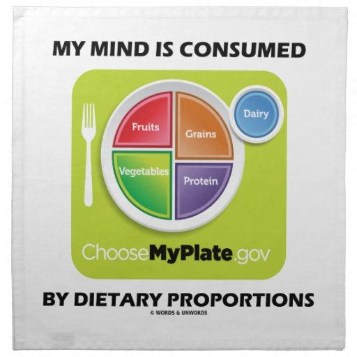 Mi mente es consumida por proporciones dietéticas servilleta