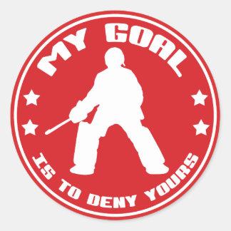Mi meta es negar el suyo, hockey hierba pegatina redonda