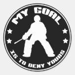 Mi meta, hockey hierba (negro) pegatina redonda