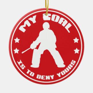 Mi meta, ornamento (rojo) del hockey hierba adorno navideño redondo de cerámica