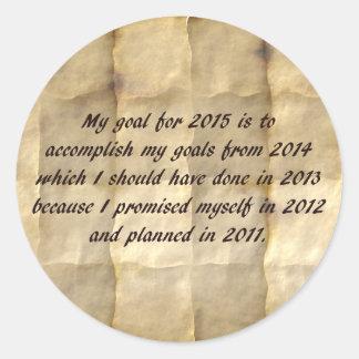 Mi meta para 2015 - la resolución divertida del pegatina redonda