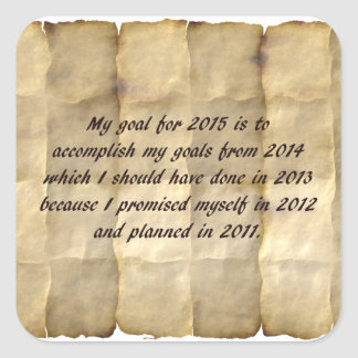 Mi meta para 2015 - la resolución divertida del pegatina cuadrada