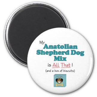 ¡Mi mezcla de Anatolia del perro de pastor es toda Imán Redondo 5 Cm