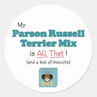 ¡Mi mezcla de Russell Terrier del párroco es toda Etiqueta Redonda