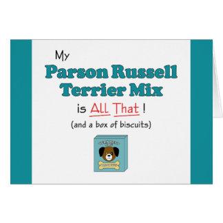 ¡Mi mezcla de Russell Terrier del párroco es toda  Tarjeta De Felicitación