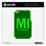 MI Michigan plain green Decal For iPod Touch 4G
