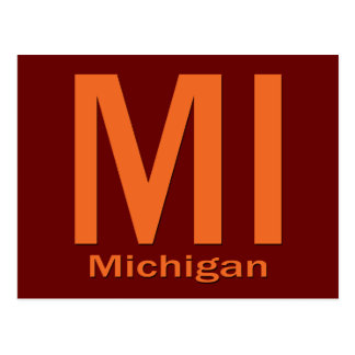 MI Michigan plain orange Postcard