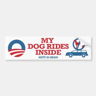 Mi mitón interior de los paseos del perro es Obama Pegatina De Parachoque