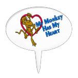 Mi mono tiene mi corazón decoraciones para tartas