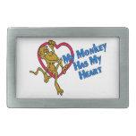 Mi mono tiene mi corazón hebilla de cinturón