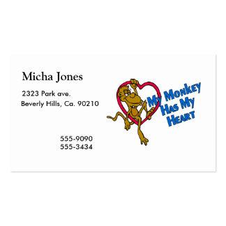 Mi mono tiene mi corazón tarjetas de visita
