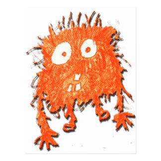 Mi monstruo anaranjado lindo del garabato postal