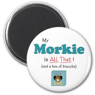 ¡Mi Morkie es todo el eso! Imán Redondo 5 Cm