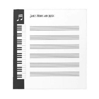 Mi música - libreta improvisada de los músicos (s) bloc de papel