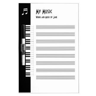 Mi música - tablero improvisado de la música de lo pizarra blanca