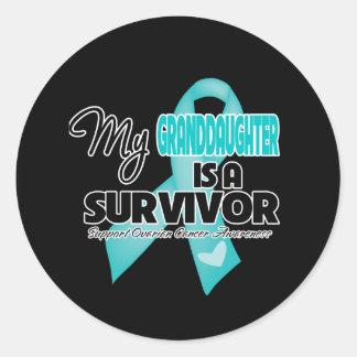 Mi nieta es un superviviente - cáncer ovárico pegatina redonda