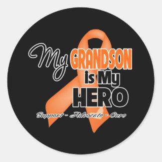 Mi nieto es mi héroe - leucemia pegatina redonda
