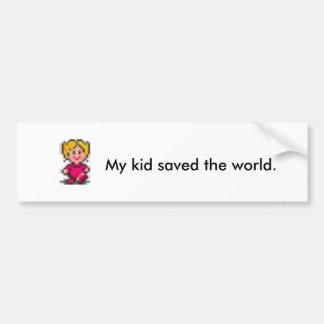 Mi niño ahorró el mundo pegatina para auto