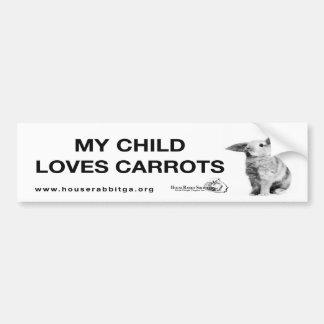Mi niño ama zanahorias pegatina de parachoque