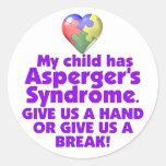 Mi niño tiene Asperger Pegatina Redonda