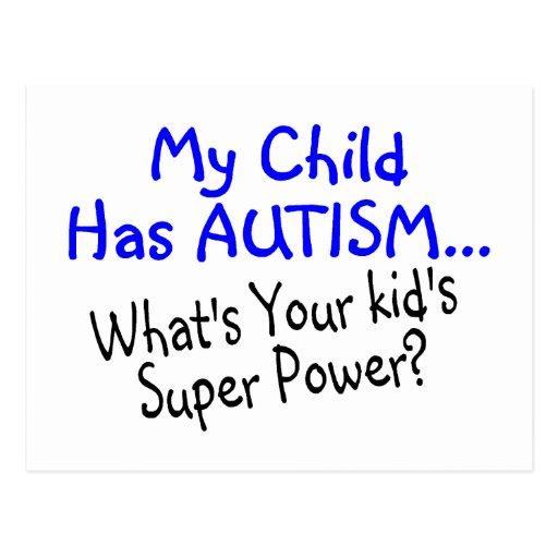 Mi niño tiene autismo cuál es su superpoder de los postal
