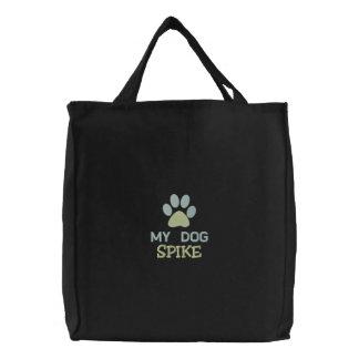 Mi nombre de encargo personalizado del perro del bolsas de lienzo