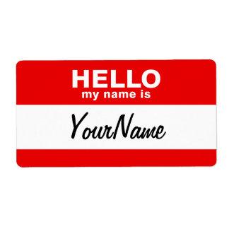 Mi nombre es rojo de encargo en blanco del Nametag Etiquetas De Envío