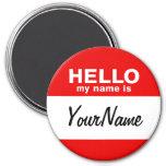 Mi nombre es rojo de encargo en blanco del Nametag Imanes