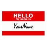 Mi nombre es rojo de encargo en blanco del Nametag Plantilla De Tarjeta De Negocio