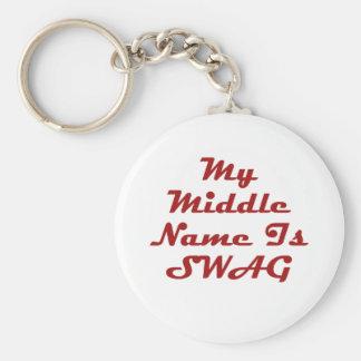 Mi nombre medio es Swag Llavero Redondo Tipo Pin