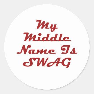 Mi nombre medio es Swag Pegatina Redonda