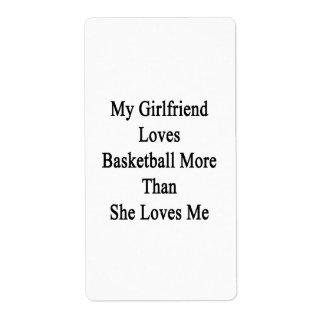 Mi novia ama baloncesto más que ella ama etiquetas de envío
