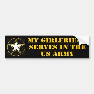 Mi novia desempeña servicios en el ejército pegatina para auto