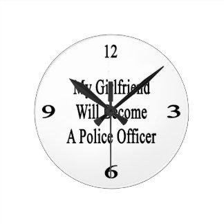 Mi novia hará oficial de policía reloj de pared