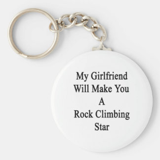 Mi novia le hará una estrella de la escalada llavero redondo tipo chapa