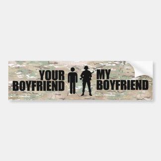 Mi novio desempeña servicios en los militares etiqueta de parachoque