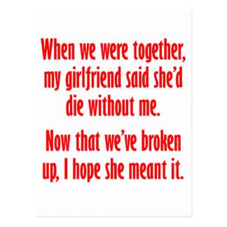 Mi novio dijo que ella moriría sin mí tarjeta postal