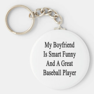 Mi novio es divertido elegante y un gran béisbol P Llavero Redondo Tipo Pin