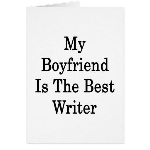 Mi novio es el mejor escritor tarjeta pequeña