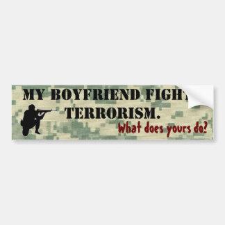 Mi novio lucha terrorismo pegatina para auto